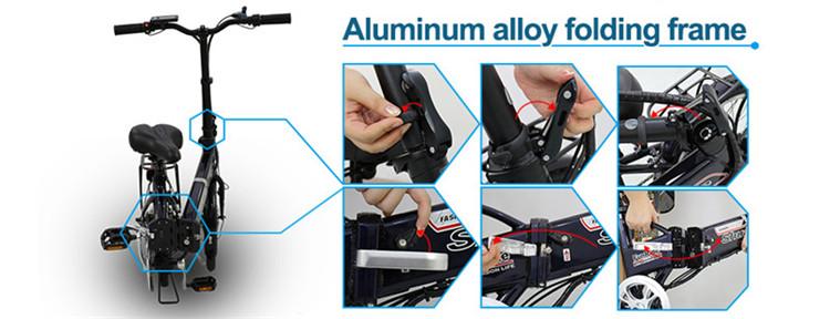 36v250w aluminum alloy frame best folding Variable speed electric bike4