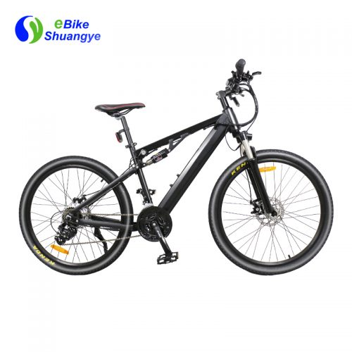 Full suspension black electric mountain bike