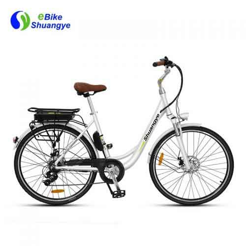28 white color street ladies electric bicycle