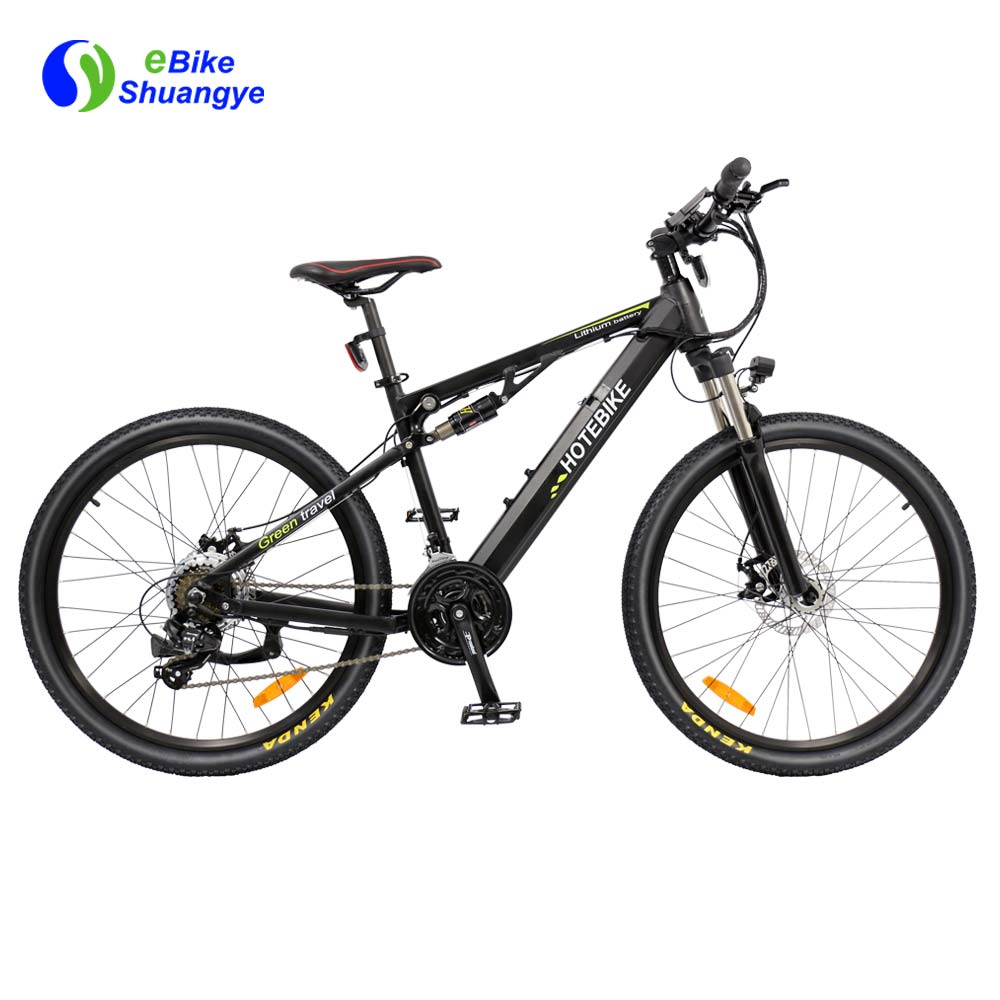 Full suspension black electric mountain bike A6AH26-S