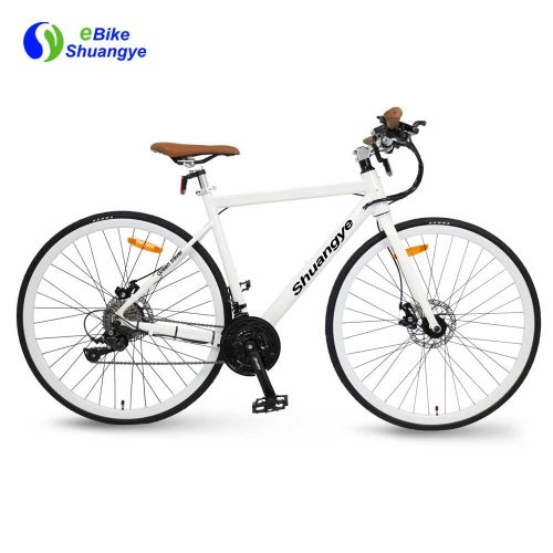 White lightweight 250W road electric bike