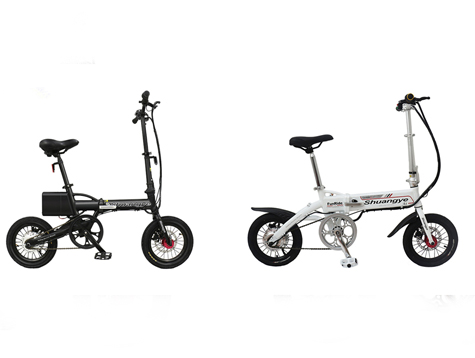 Two 14 inches compact folding electric bikes