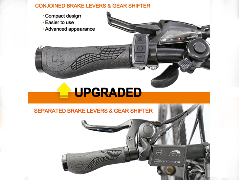 Separated or conjoined brake levers and gear shifter