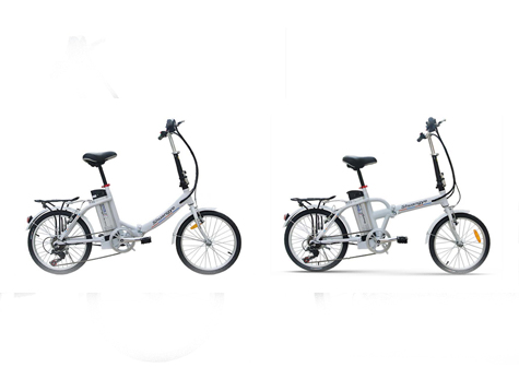 Two similar fold up electric bikes