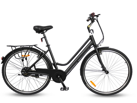 Two different 28-inch wheel city e-bikes