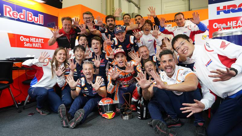 Honda HRC team with Marc Marquez